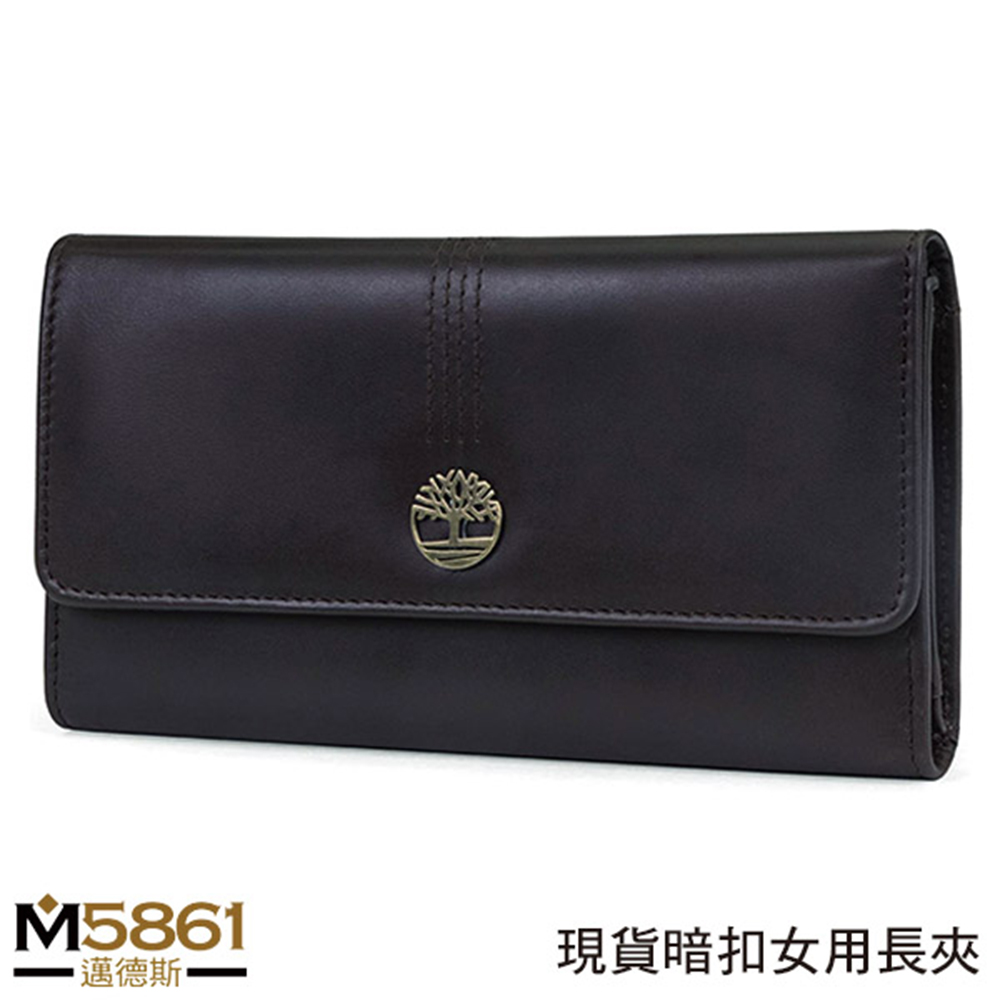 【Timberland】女皮夾 長夾 牛皮夾 上翻暗扣錢包 多卡夾+拉鍊零錢袋 手拿包/棕黑