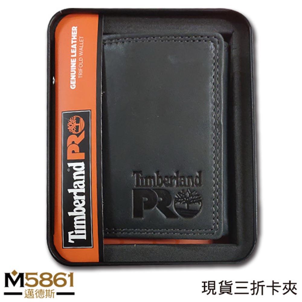 【Timberland】男皮夾 短夾 三折 PRO款 牛皮夾 品牌盒裝/黑
