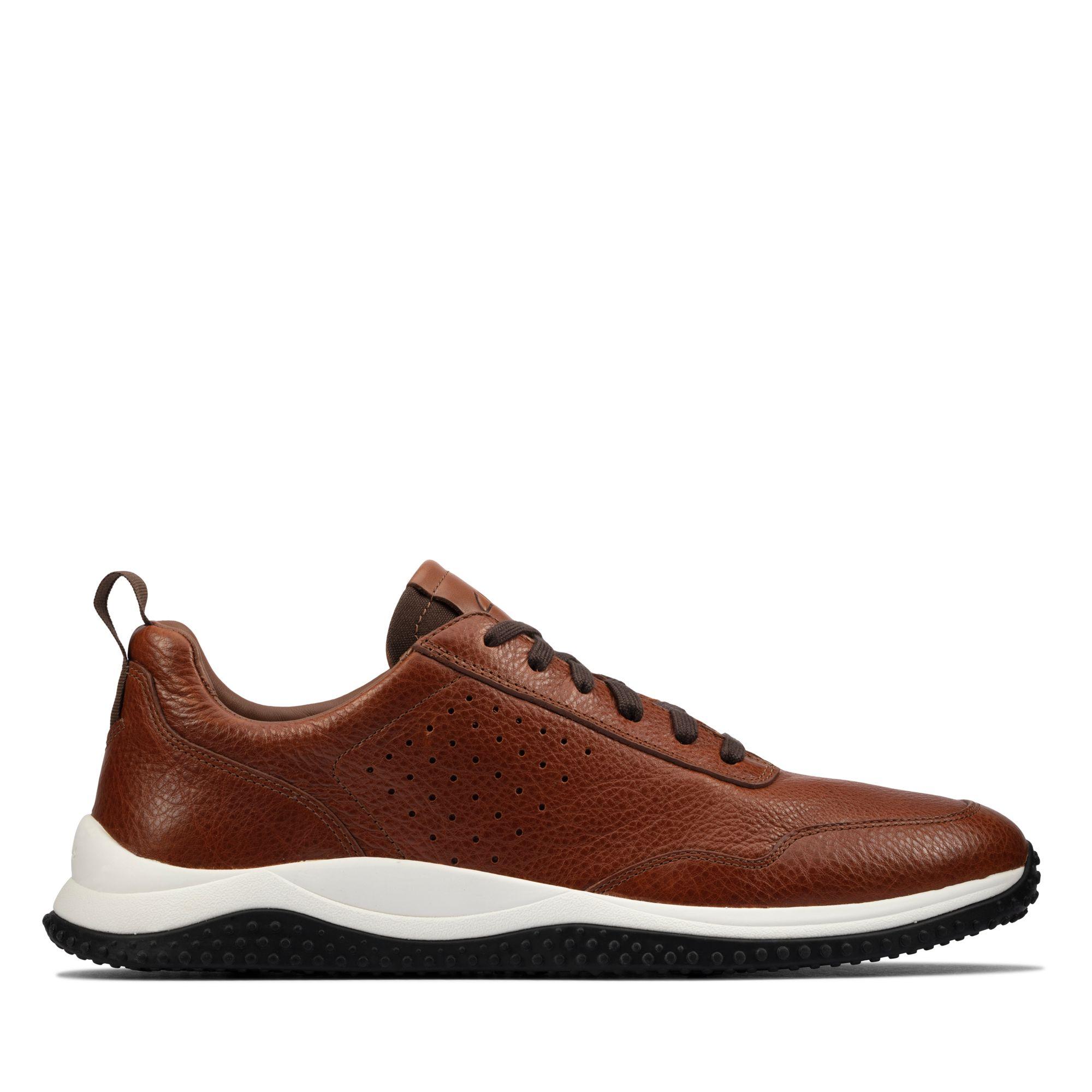 Clarks型格煥新-Puxton Lace 全真皮透氣綁帶休閒鞋(棕褐色)