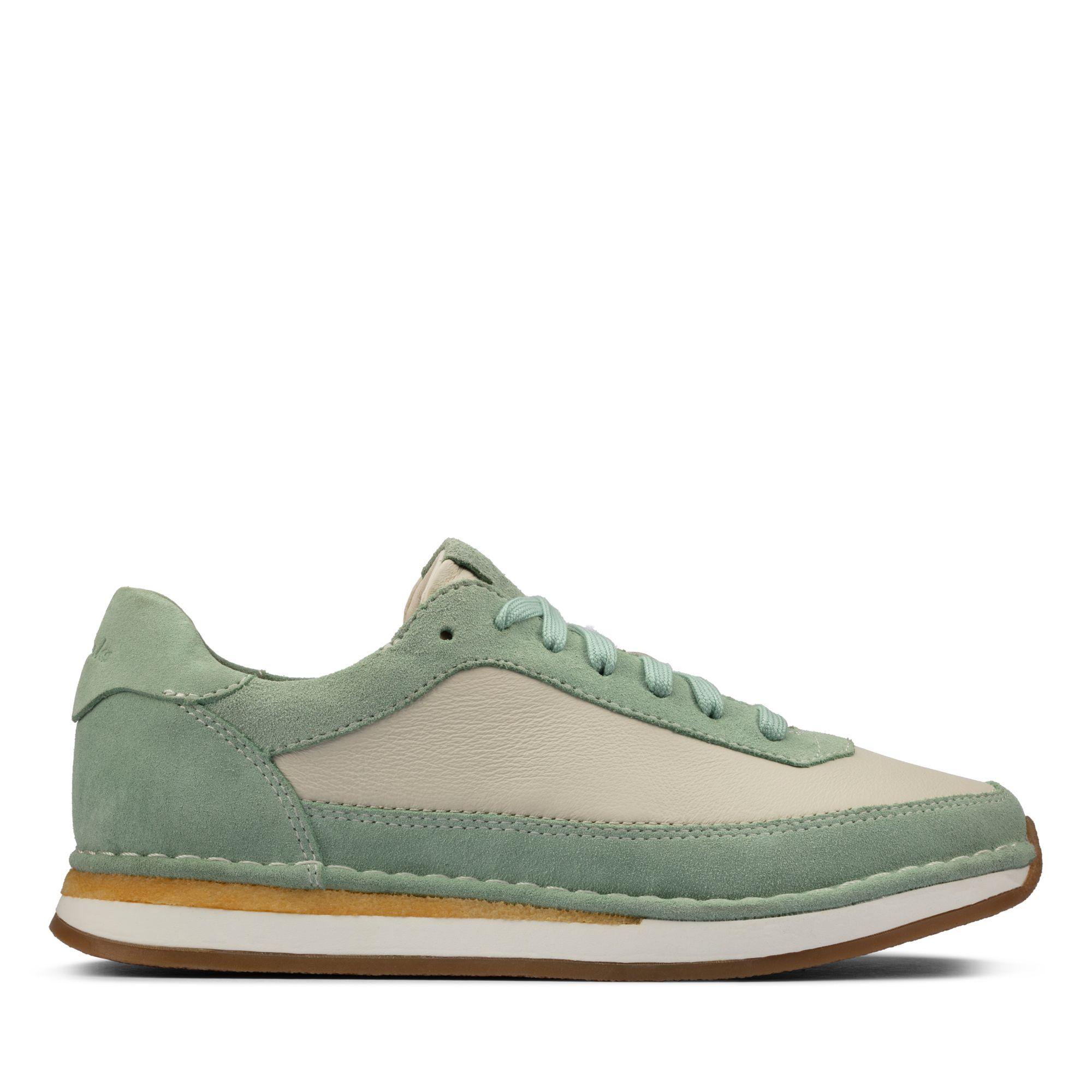 Clarks匠心之作-CraftRun Lace經典複刻手工皮質休閒鞋(薄荷綠)
