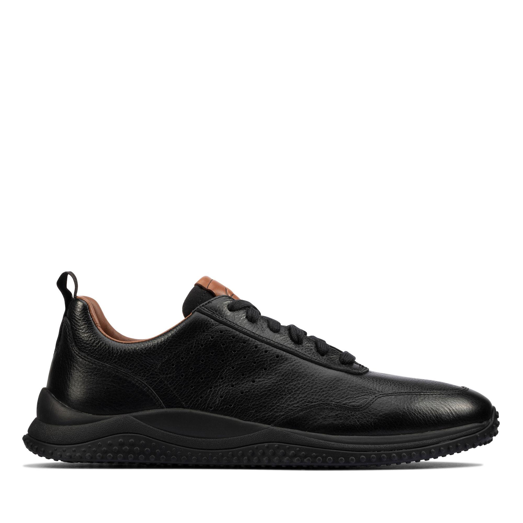 Clarks型格煥新-Puxton Lace全真皮透氣綁帶休閒鞋(黑色)