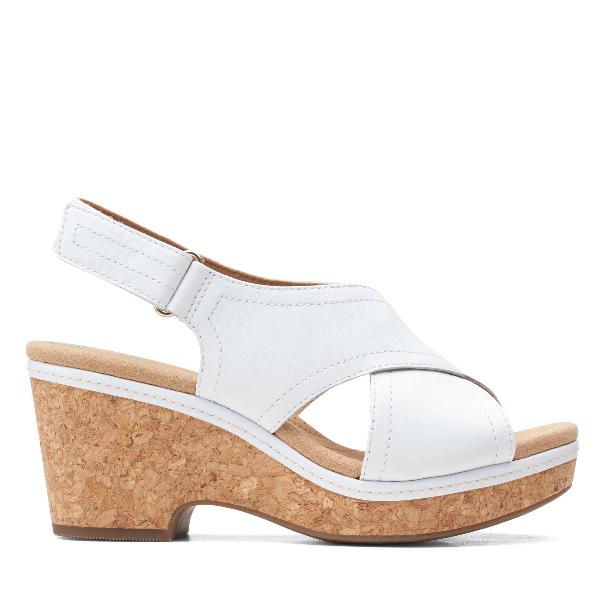 Clarks仲夏之夢-Giselle Cove前交織勺型厚底涼鞋(白色)
