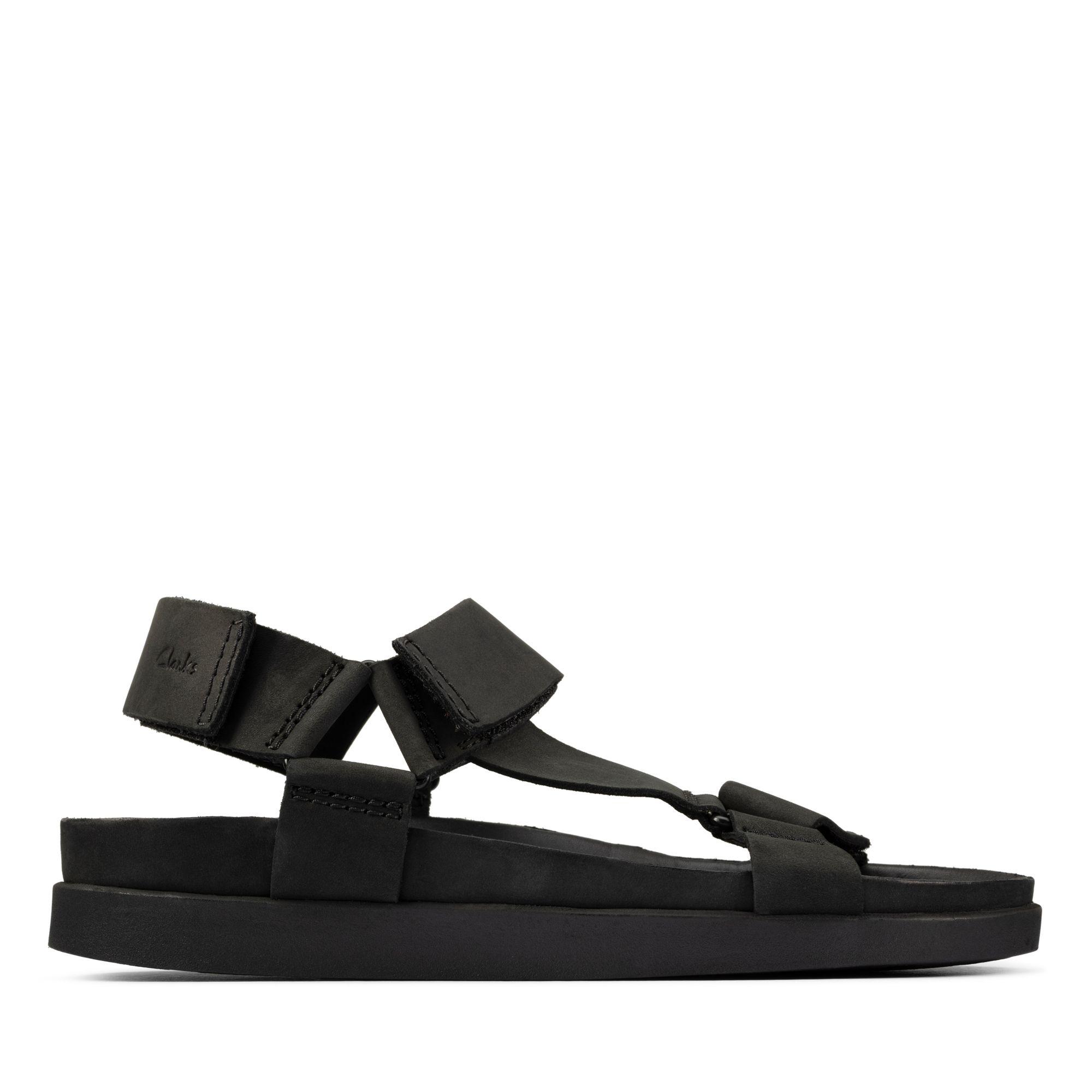Clarks 夏日街頭-Sunder Range 輕量型運動風摩鬼氈設計涼鞋(黑色)