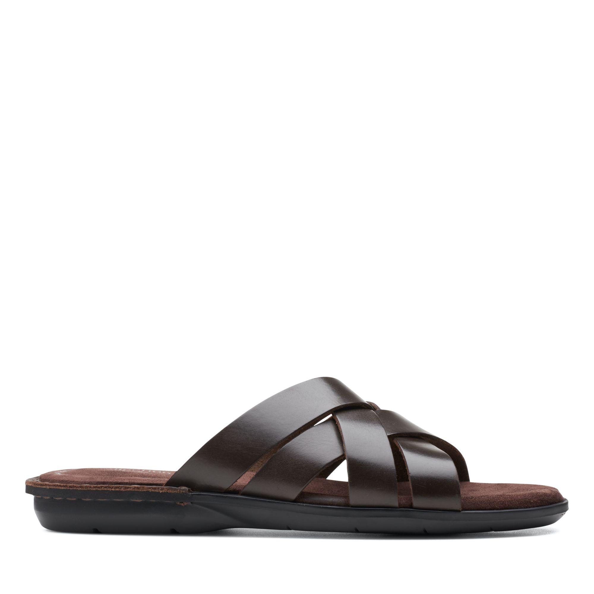 Clarks 夏日街頭-Ellison Weave編織風皮革拖鞋(深棕色)