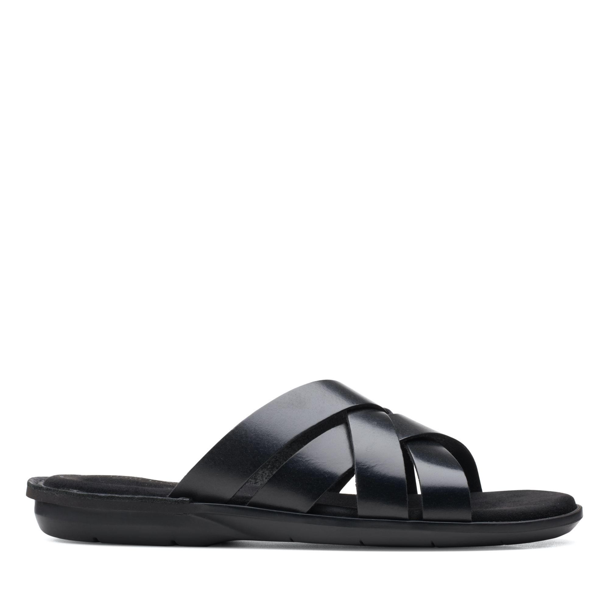 Clarks 夏日街頭-Ellison Weave編織風皮革拖鞋(黑色)