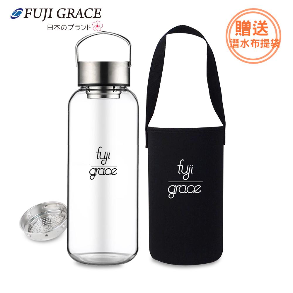 春節特談【日本富士雅麗FUJI-GRACE】高硼矽耐熱手提玻璃瓶-1500ml(附提袋)