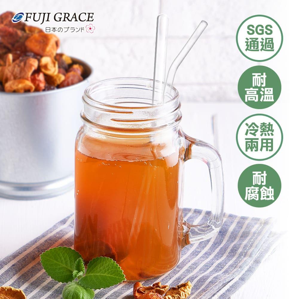 春節特談【日本富士雅麗FUJI-GRACE】加厚耐熱玻璃吸管-四件組(3吸管+刷子+絨布套)