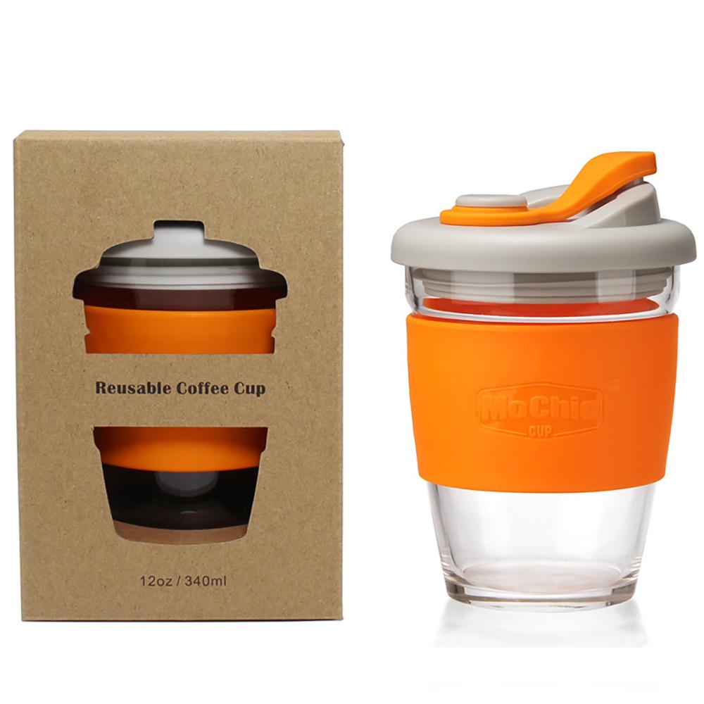 PinUpin 摩西環保防漏隔熱玻璃隨手咖啡杯340ml (6色選)橙色