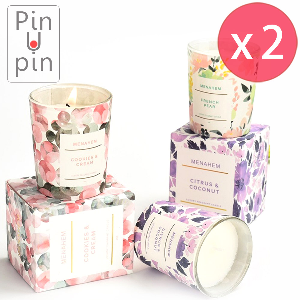 PinUpin 買一送一花調薰香蠟燭50g 環保無煙天然大豆蠟香味可選
