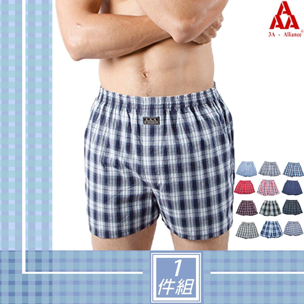 【3A-Alliance】經典格紋精梳綿四角平口褲