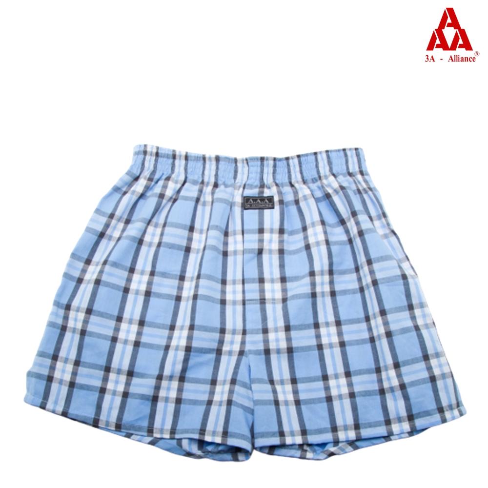 【3A-Alliance】天空藍格紋/四角平口褲