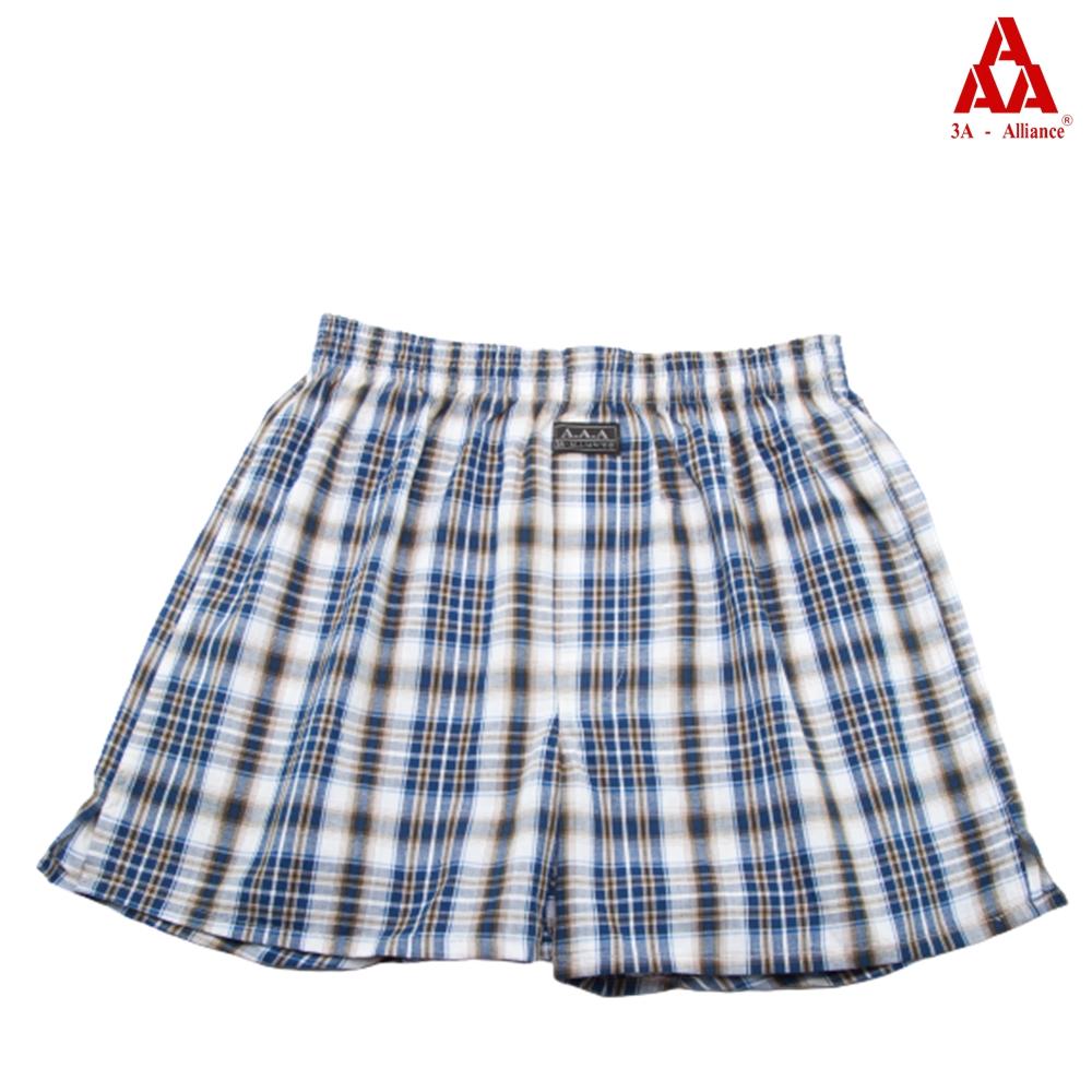 【3A-Alliance】灰藍格紋/四角平口褲