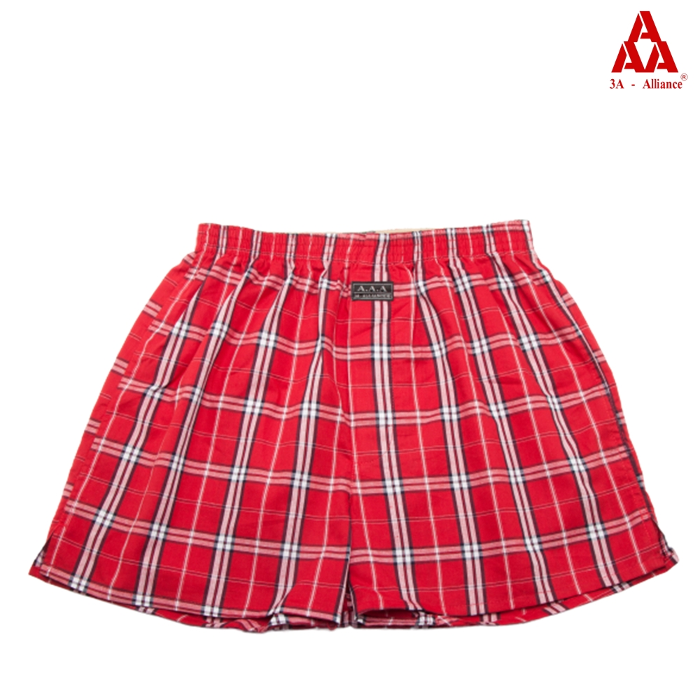 【3A-Alliance】紅格紋/四角平口褲