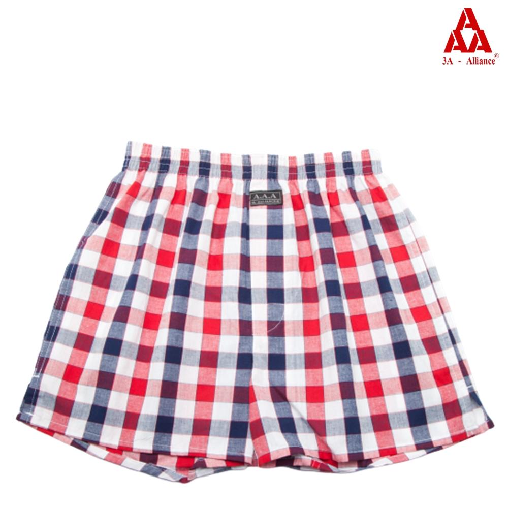 【3A-Alliance】紅藍格紋 /四角平口褲