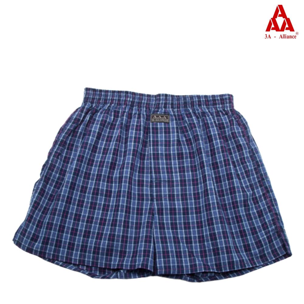 【3A-Alliance】海軍藍格紋/四角平口褲