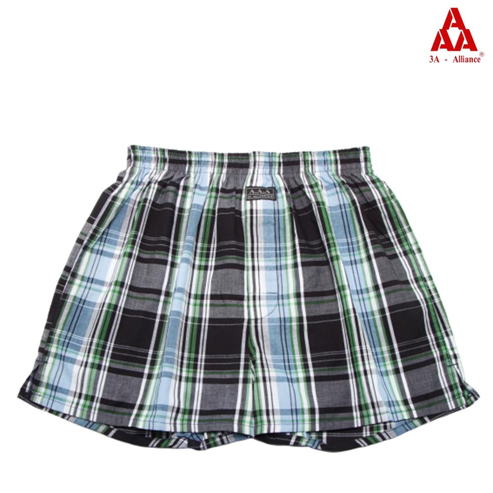 【3A-Alliance】黑深綠格紋/四角平口褲