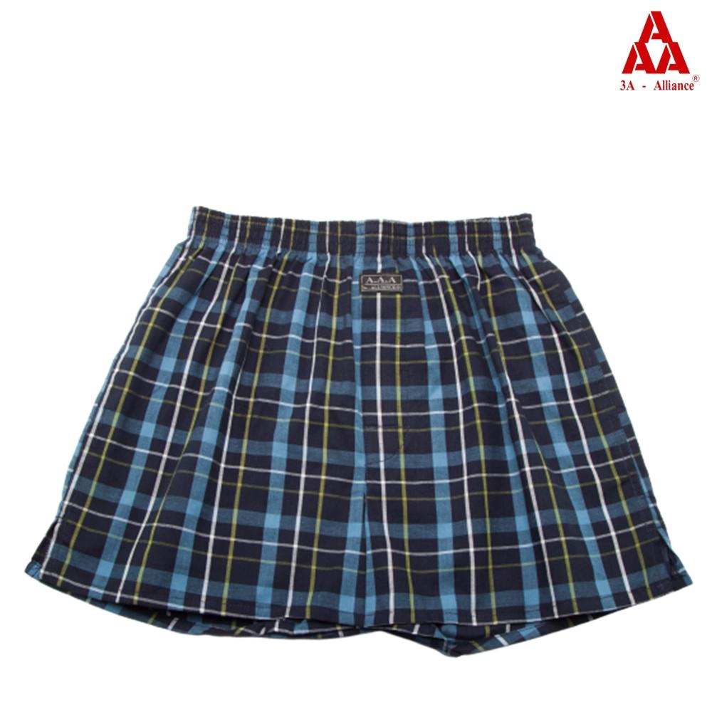 【3A-Alliance】黑藍格紋/四角平口褲