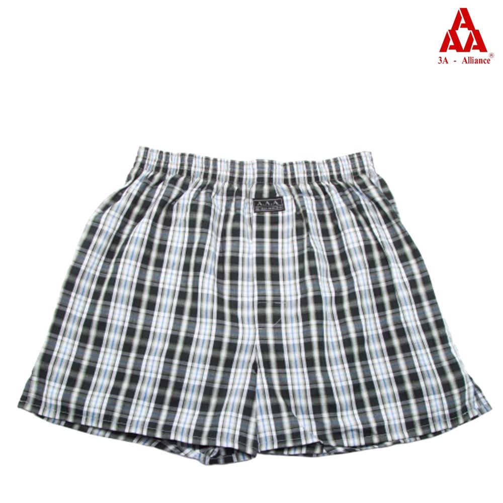 【3A-Alliance】綠白黑格紋/四角平口褲