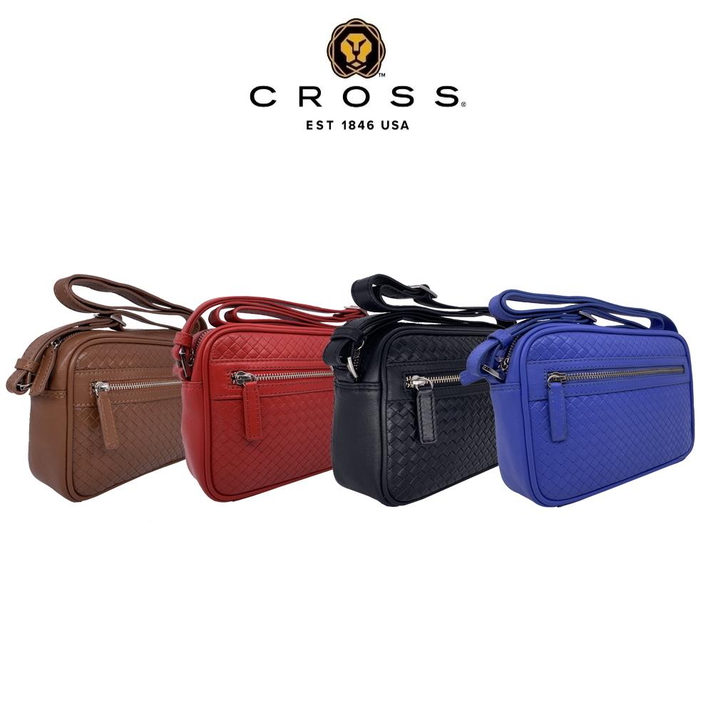 CROSS 頂級小牛皮編織紋斜背包(多色任選)