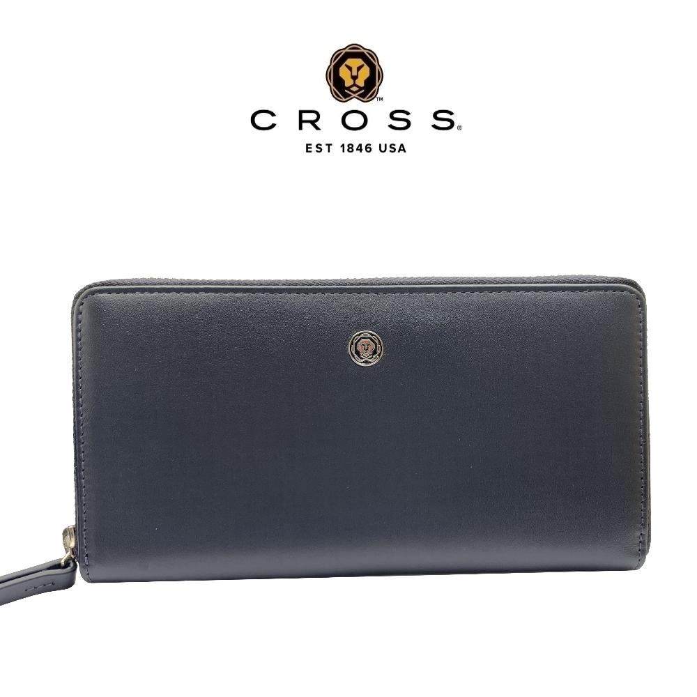 CROSS 頂級NAPPA小牛皮拉鍊長皮夾-維納斯系列(深藍色 贈原廠送禮提袋)