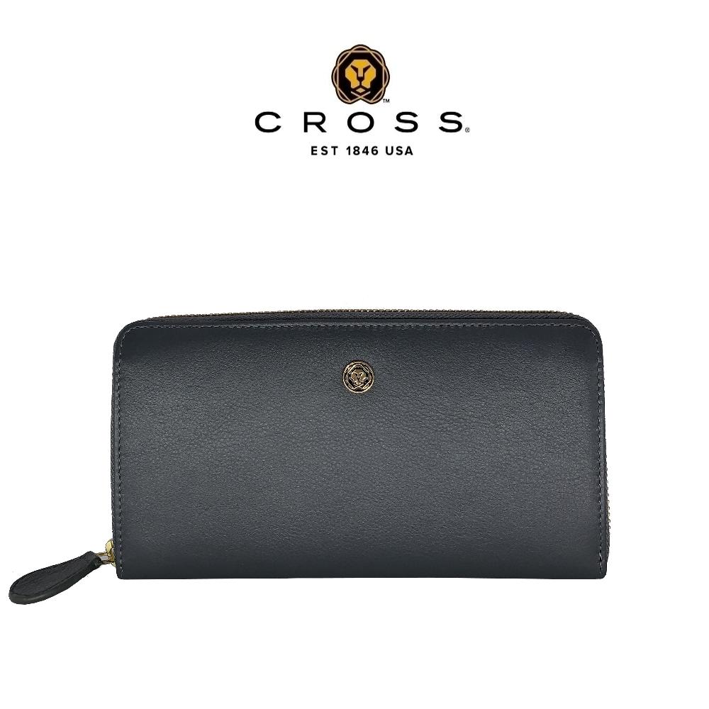 CROSS 頂級NAPPA小牛皮拉鍊長皮夾-維納斯系列(大象灰 贈原廠送禮提袋)