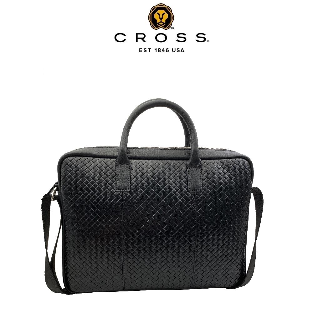 CROSS 經典小牛皮編織紋手柄拉鍊手提/斜背公事包(16吋, 黑色)