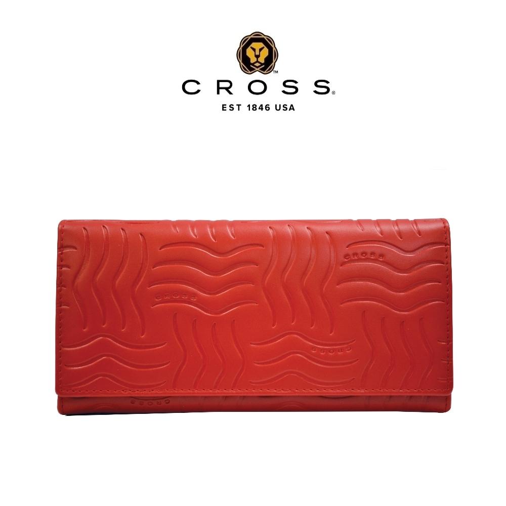 CROSS 頂級NAPPA小牛皮鈕扣對開長夾-第一夫人系列(紅色 贈原廠送禮提袋)