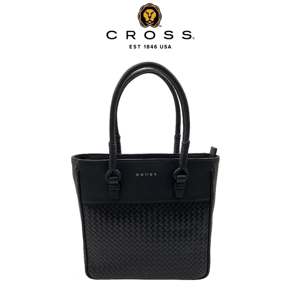 CROSS 經典小牛皮編織紋拉鍊手提包 拖特包(黑色)