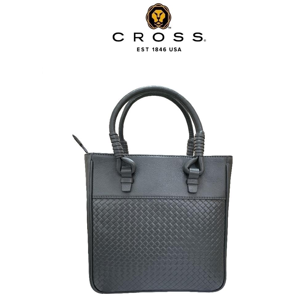 CROSS 經典小牛皮編織紋拉鍊手提包 拖特包(灰色)