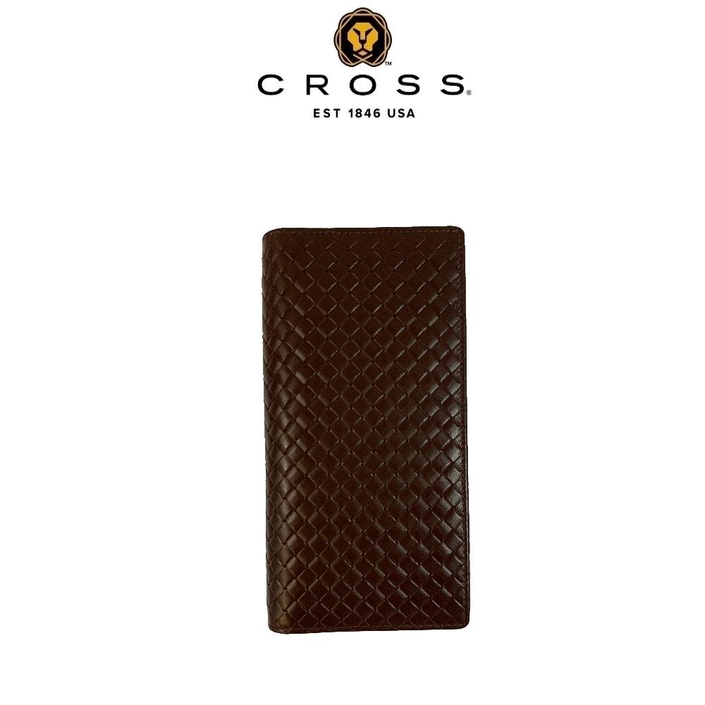 CROSS 頂級小牛皮編織紋22卡男用對開長夾(咖啡色 附贈原廠送禮提袋)