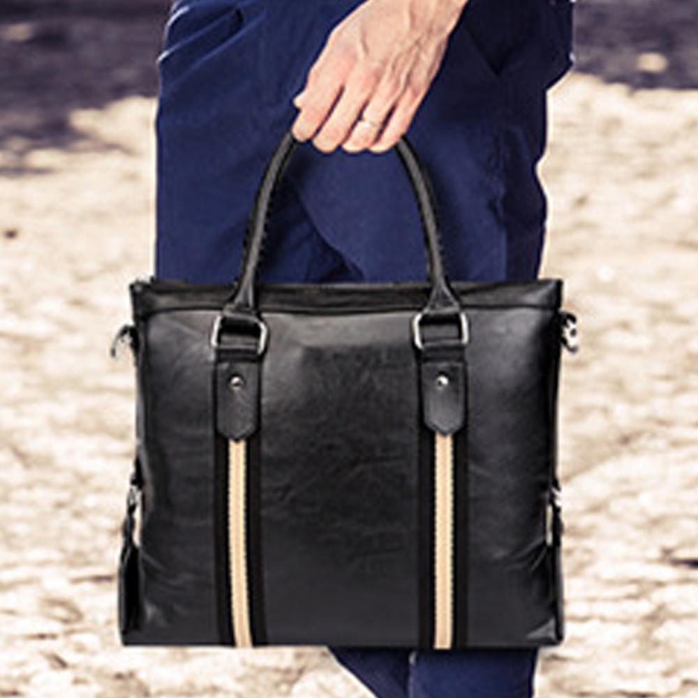【BONum 博紐】韓版軟皮織帶商務休閒包 輕旅行包