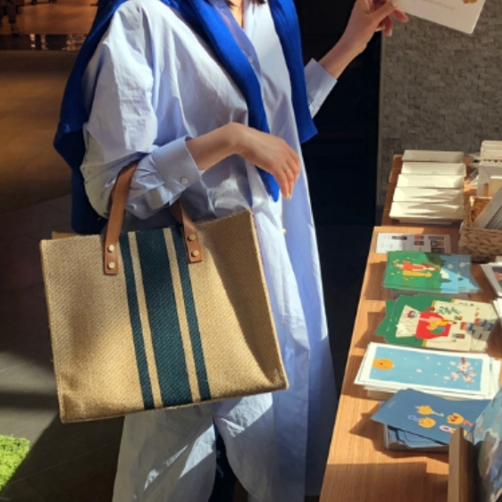 【BONum 博紐】ins韓版編織帆布輕便手提包