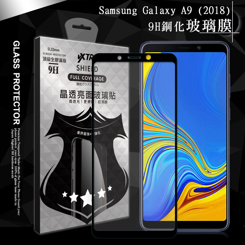 VXTRA 全膠貼合 三星 Samsung Galaxy A9 (2018) 滿版疏水疏油9H鋼化頂級玻璃膜(黑)