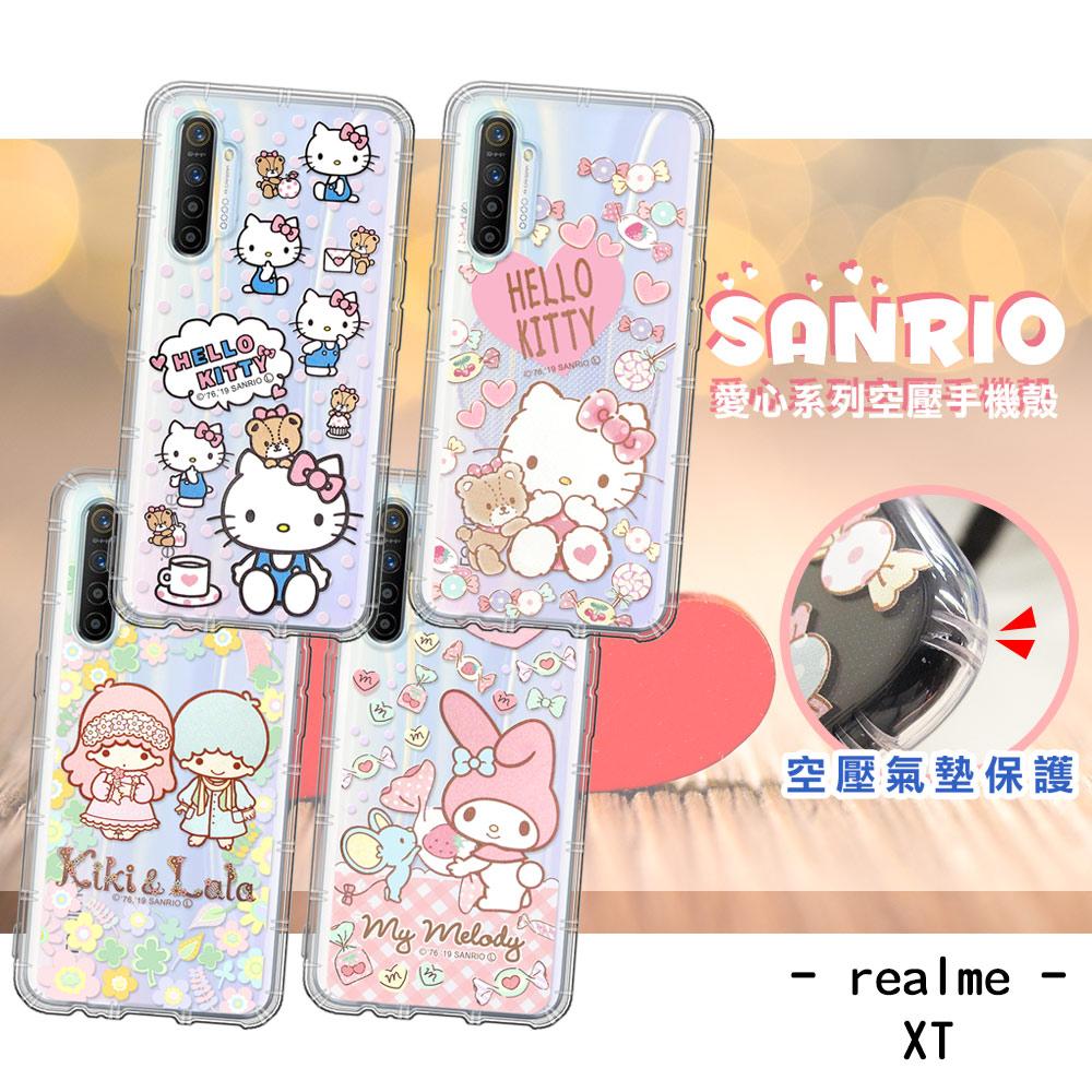 三麗鷗授權 Hello Kitty/雙子星/美樂蒂 realme XT 愛心空壓手機殼 有吊飾孔