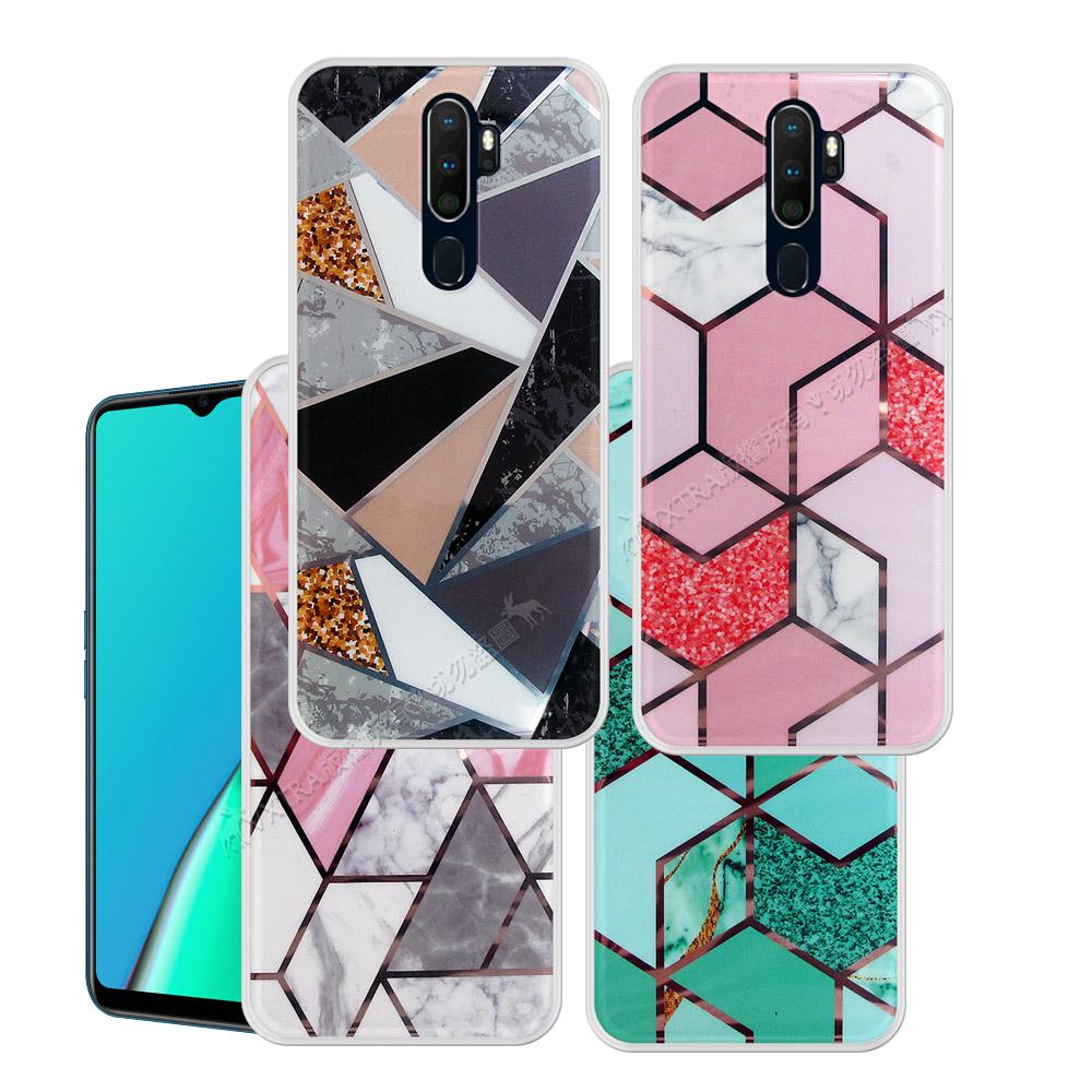 VXTRA 燙金拼接 OPPO A5 2020/A9 2020共用款 大理石幾何手機殼 保護殼 有吊飾孔