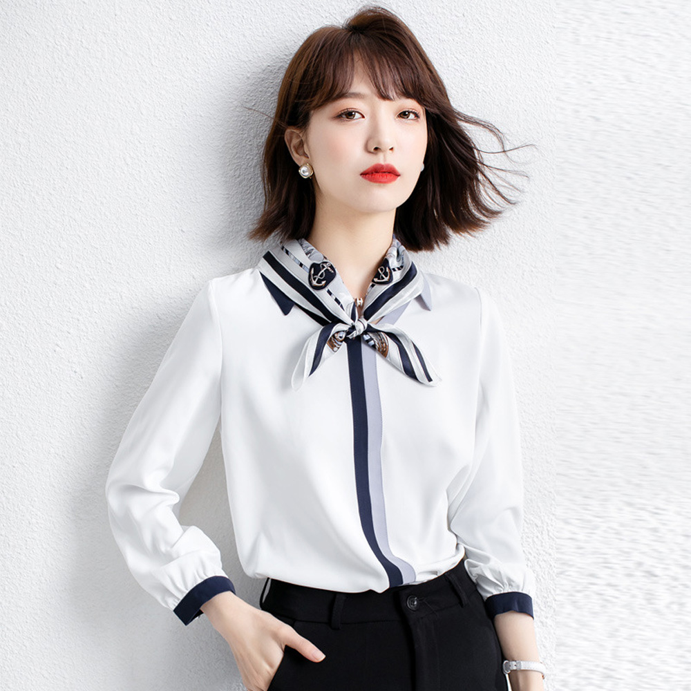 領結雪紡衫上衣 白色(尺寸L-XXL)