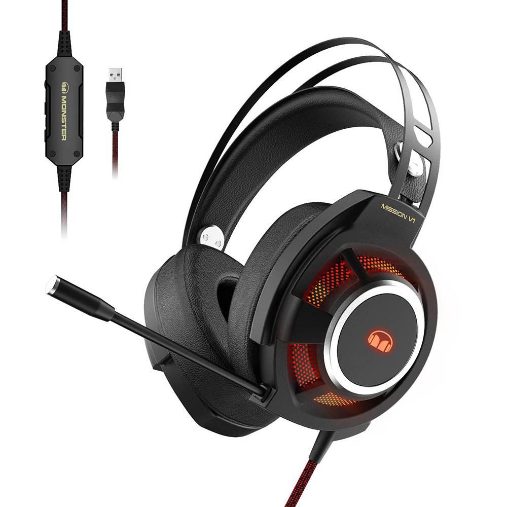 Monster 魔聲 |Mission V1 電競耳罩耳機麥克風|環繞澎湃|RGB 炫彩-武士黑